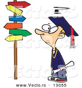 Vector of a Confused Cartoon Graduate Boy Looking at Directional Signs by Toonaday