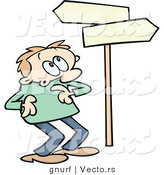 Vector of a Confused Cartoon Man Looking at Blank Street Signs Pointing in Opposite Directions by Gnurf