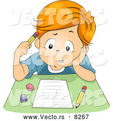 Vector of a Confused Cartoon School Boy Taking a Test by BNP Design Studio