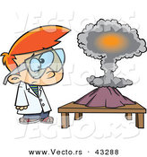 Vector of a Confused Cartoon Scientist Boy Watching His Project Explode into a Mushroom Cloud by Toonaday