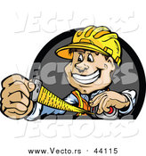 Vector of a Construction Worker Measuring While Smiling by Chromaco