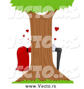 Vector of a Couple Kissing Behind a Tree by BNP Design Studio