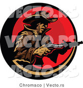 Vector of a Cowboy Pointing Two Pistols Within a Red Circular Icon by Chromaco