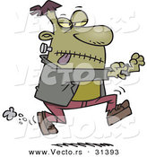 Vector of a Creepy Cartoon Frankenstein Running Forward with Arms out on Halloween by Toonaday