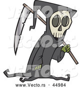 Vector of a Creepy Cartoon Grim Reaper with a Scythe by Toonaday