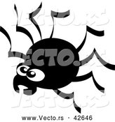 Vector of a Creepy Cartoon Spider - Black and White by Zooco