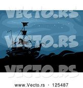 Vector of a Creepy Ghost Ship at Sea During the Night by BNP Design Studio