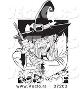 Vector of a Creepy Witch Grinning While Mixing a Human Skull and Potion in a Cauldron - Black and White Line Art by Lawrence Christmas Illustration