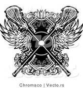 Vector of a Crisscrossed Lacrosse Sticks over Badge with Wings - Black and White by Chromaco