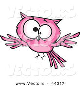 Vector of a Cross Eyed Cartoon Pink Owl by Toonaday