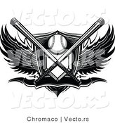 Vector of a Crossed Bats over Baseball Plate Shield Banner with Wings - Black and White by Chromaco