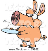 Vector of a Crying Cartoon Pig with an Empty Plate by Toonaday