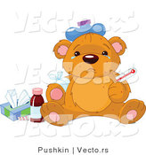 Vector of a Crying Sick Teddy Bear Beside Medicine and Medical Supplies by Pushkin