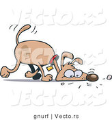 Vector of a Curious Cartoon Dog Sniffing Scents on Ground by Gnurf
