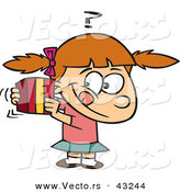 Vector of a Curious Cartoon Girl Trying to Guess a Wrapped Present by Toonaday