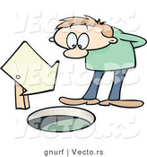 Vector of a Curious Cartoon Man Looking down a Manhole with a Blank Sign Pointing down It by Gnurf