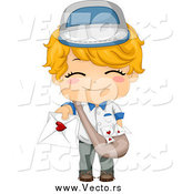 Vector of a Cute Blond Boy Deliverying a Love Letter by BNP Design Studio