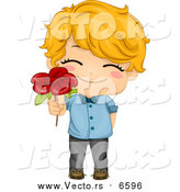 August 10th, 2015: Vector of a Cute Caucasian Valentine Boy Giving a Red Flower by BNP Design Studio