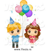 July 17th, 2015: Vector of a Cute White Birthday Boy Giving Balloons to a Girl by BNP Design Studio