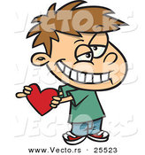 Vector of a Cute White Boy Holding a Red Valentine Love Heart While Grinning by Toonaday