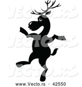 Vector of a Dancing Cartoon Reindeer - Silhouette by Zooco