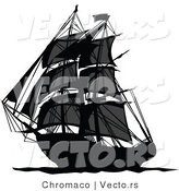 Vector of a Dark Pirate Ship Sailing Ocean Waters by Chromaco