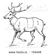 Vector of a Deer with Butcher Sections of Venison Cuts - Black Lineart by Picsburg