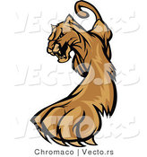 Vector of a Defensive Cartoon Cougar Cautiously Walking Forward While Growling by Chromaco