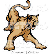Vector of a Defensive Cartoon Cougar Hissing by Chromaco