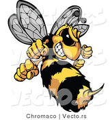Vector of a Defensive Cartoon Hornet Mascot Prepared to Sting by Chromaco