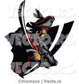 Vector of a Defensive Cartoon Pirate Prepared to Strike with His Sword by Chromaco
