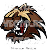 Vector of a Defensive Cartoon Wolverine Mascot Growling Aggressively by Chromaco