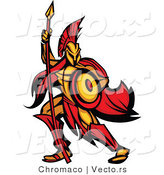 Vector of a Defensive Spartan Warrior Armed with a Spear and Protective Shield by Chromaco