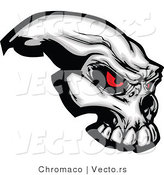 Vector of a Demonic Skull Staring with Intimidating Red Eyes by Chromaco