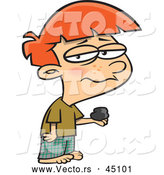 Vector of a Depressed Cartoon Boy Holding a Piece of Christmas Coal by Toonaday
