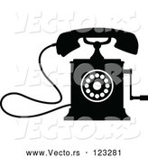 Vector of a Desk Crank Telephone - Black and White by Vector Tradition SM