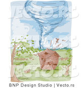 Vector of a Destructive Water Colored Tornado on Farm with Barn by BNP Design Studio