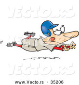 Vector of a Determined Cartoon Baseball Player Jumping Towards Home Base by Toonaday