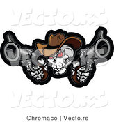 Vector of a Develish Cowboy Skull Aiming 2 Guns While Staring with Intimidating Red Eyes by Chromaco