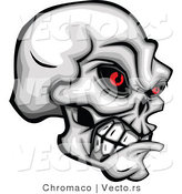 Vector of a Develish Skull Clenching Its Jaw While Staring with Evil Red Eyes by Chromaco