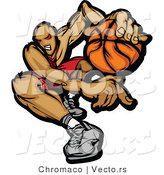 Vector of a Devilish Cartoon Basketball Player with Ball by Chromaco