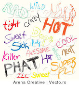 Vector of a Digital Collage of Sketched Words Related to Cool by Arena Creative
