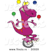 Vector of a Dinosaur Juggling on a Unicycle by Ron Leishman