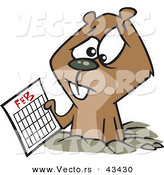 Vector of a Distressed Cartoon Groundhog Holding a February Calendar by Toonaday