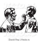 Vector of a Doctor Checking Boy's Tonsils - Black and White by David Rey