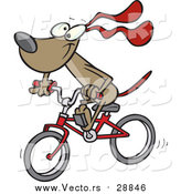 August 19th, 2016: Vector of a Dog Character Riding a Red Bike - Cartoon Style by Toonaday
