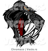 Vector of a Dominant Black Saber Toothed Panther Mascot with Intimidating Red Eyes by Chromaco