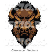 Vector of a Dominant Cartoon Buffalo Mascot Staring Aggressively by Chromaco
