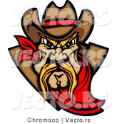 Vector of a Dominant Cartoon Cowboy Mascot Wearing Red Bandana While Staring with Intimidating Eyes by Chromaco
