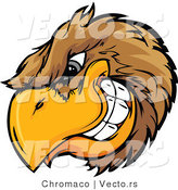 Vector of a Dominant Cartoon Golden Eagle Mascot Grinning with Intimidating Eyes by Chromaco